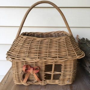 Vintage Boho House Farmhouse Woven Basket Bin